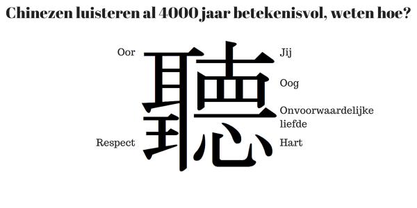 Foto - Chinees teken voor betekenisvol luisteren met je oren, hart, ogen en respect Happy Kids Happy Parents Blog - Conrad